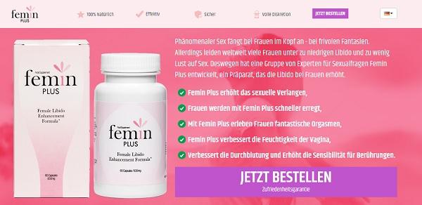 So sieht die Homepage von Femin Plus aus
