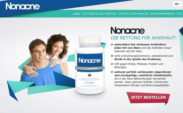 So sieht die Homepage von Nonacne aus.