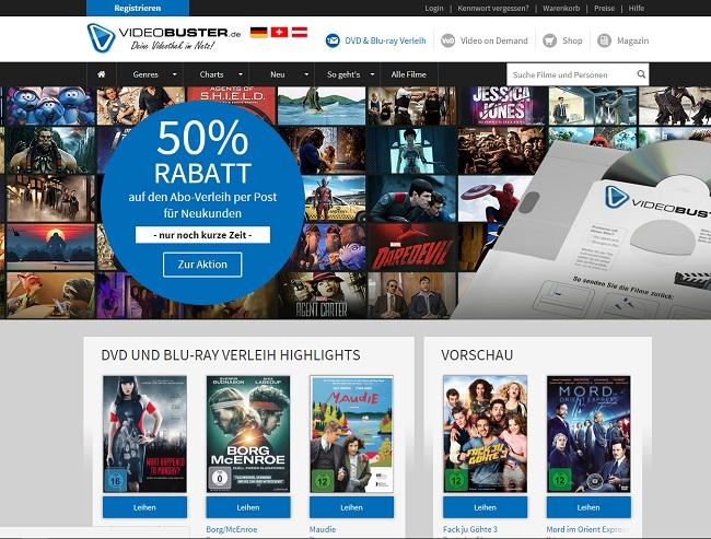 So sieht die Webseite von Videobuster aus.