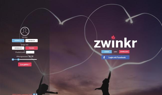 So sieht die Webseite von Zwinkr.de aus.