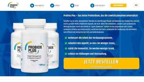So sieht die Homepage von Probiox Plus aus.