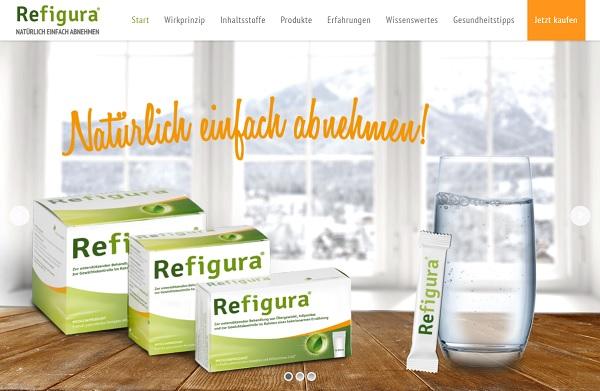 So sieht die Webseite von Refigura aus.