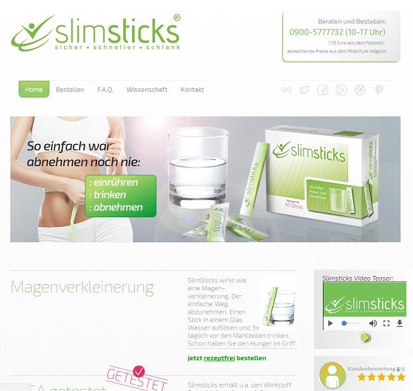 So sieht die Homepage von SlimSticks aus.
