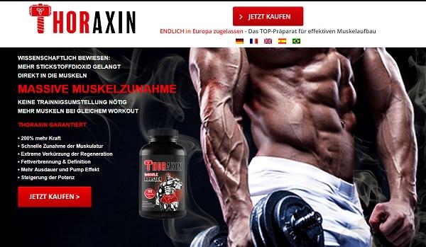 So sieht die Homepage von Thoraxin aus.