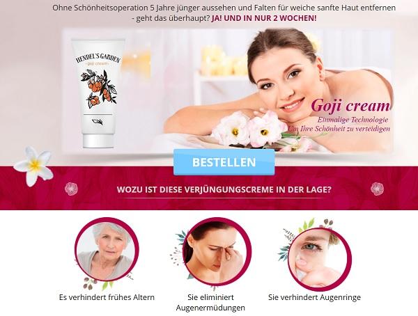 So sieht die Homepage von Goji Cream aus.