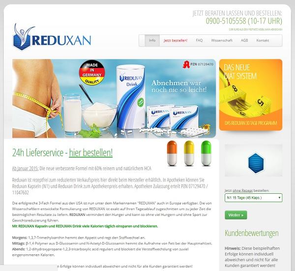 So sieht die Homepage von Reduxan aus.
