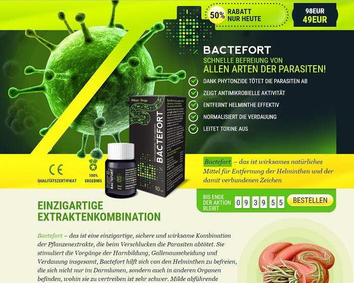 So sieht die Webseite von Bactefort aus.