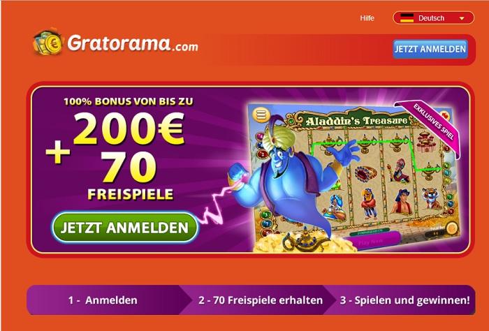 So sieht die Homepage von Gratorama aus.
