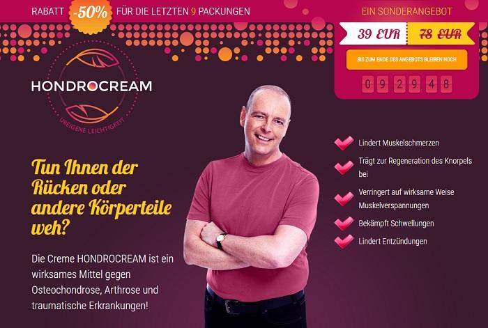 So sieht die Homepage von Hondrocream aus.