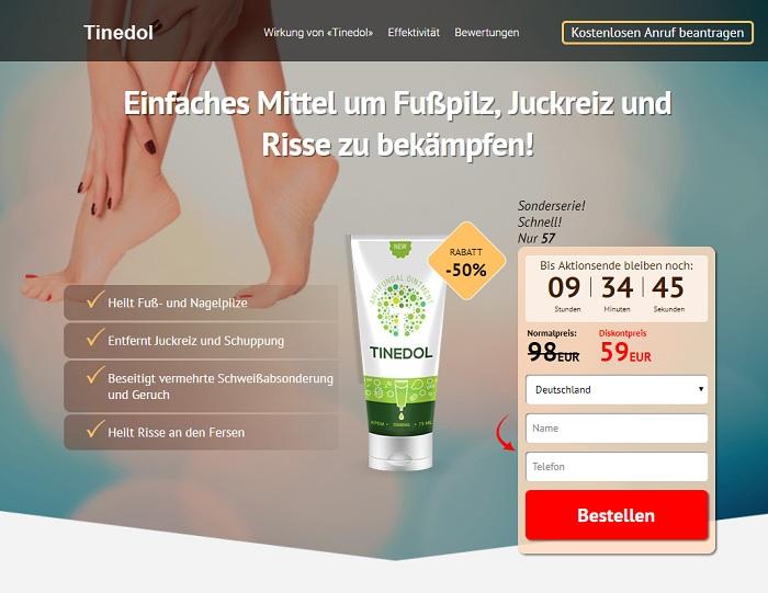 So sieht die Homepage von Tinedol aus.
